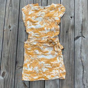 Reformation Toile De Jouy Mustard Wrap Dress